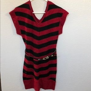 Belted red sweater dress holidays